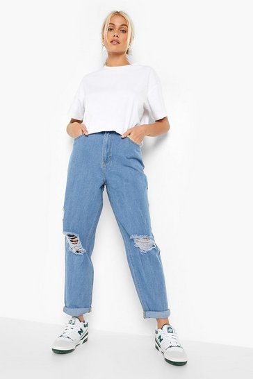Light blue blue High Rise Distressed Dad Jeans