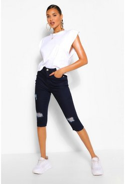 Dark blue blue High Rise Distressed Stretch Cropped Skinny