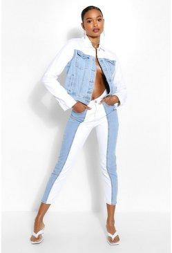 White Contrast High Rise Mom Jean
