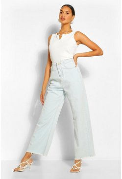 Light blue blue High Rise Frayed Hem Wide Leg Jean