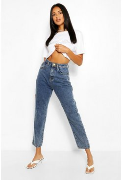 Mid blue Acid Wash Waist Detail Mom Jean