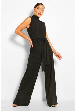 Black Recycled Plus Rib Mandarin Collar Jumpsuit