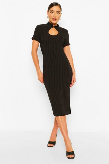 Black Recycled Plus Mandarin Collar Midi Dress