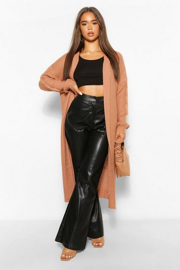 Tan brown Brown Oversize Hooded Knitted Midi Cardigan