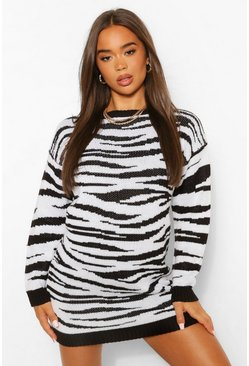 Black Round Neck Zebra Jacquard Jumper Dress