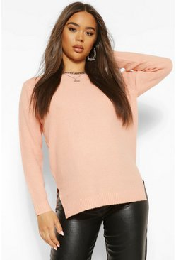 Apricot nude Yellow Round Neck Basic Sweater