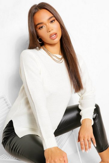 Tan white White Round Neck Lightweight Jumper