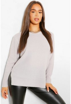 Silver grey grey Round Neck Lightweight Sweater