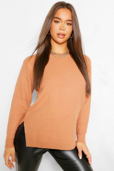 Tan brown Brown Round Neck Lightweight Jumper