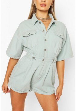 Sage green Waist Detail Denim Playsuit