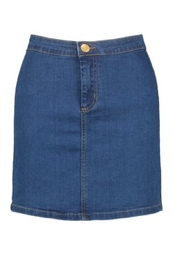 Mid blue Power Stretch Denim Mini Skirt