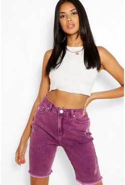 Purple High Rise Acid Wash Mom Short