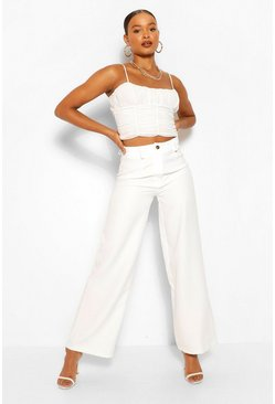 Ivory white Woven Wide Leg Trousers