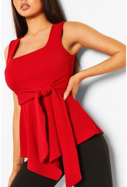 Red Crepe Square Neck Asymmetric Belted Top