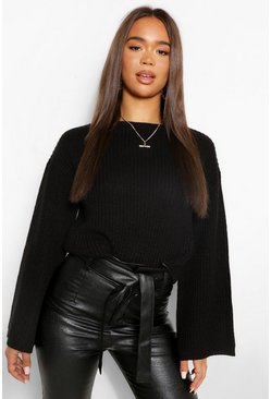 Black Cropped Flare Sleeve Jumper