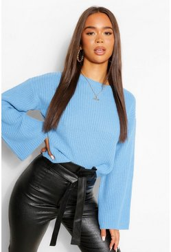 Bright blue blue Cropped Flare Sleeve Jumper