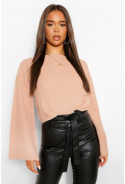 Rose pink Cropped Flare Sleeve Jumper