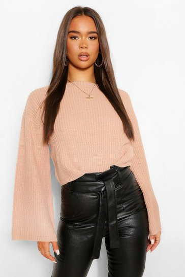 Rose pink Pink Cropped Flare Sleeve Jumper