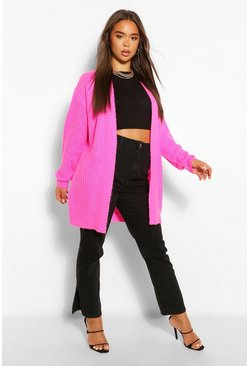 Pink Textured Yarn Boyfriend Cardigan