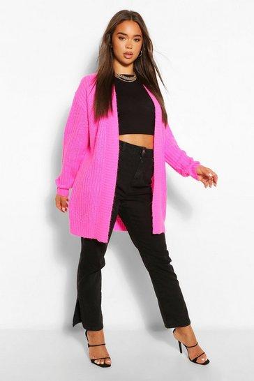 Pink Textured Yarn Boyfriend Cardigan