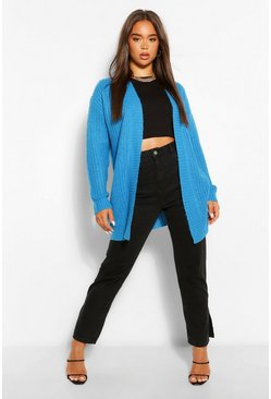 Turquoise blue Textured Yarn Boyfriend Cardigan