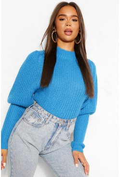 Turquoise blue Textured Yarn Puff Sleeve Jumper