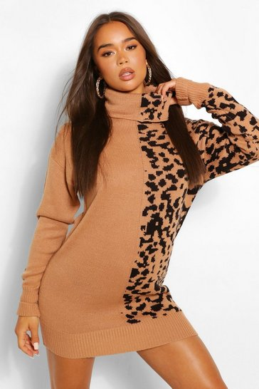 Tan brown Leopard Jacquard Roll Neck Jumper Dress