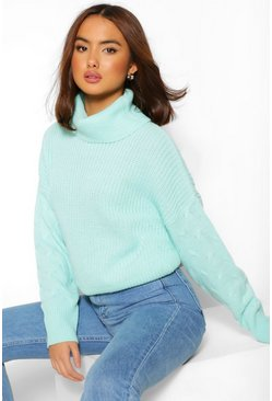 Mint green Cable Knit Sleeve Roll Neck Jumper