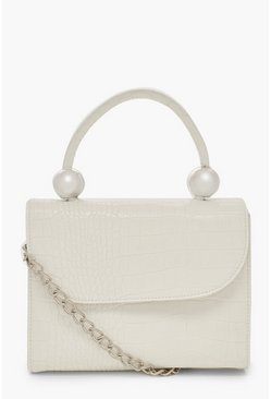 White Mini Croc & Bead Structured Cross Body Bag