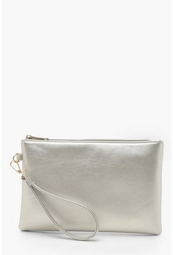Silver Metallic Smooth Pu Zip Top Clutch Bag