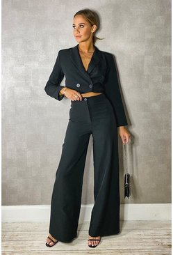 Black Woven Tailored Cropped Blazer