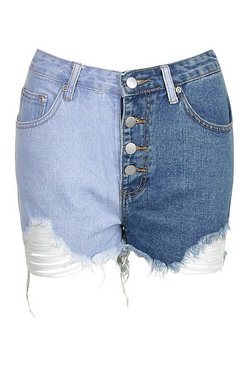 Light blue Contrast Exposed Button Distressed Denim Short