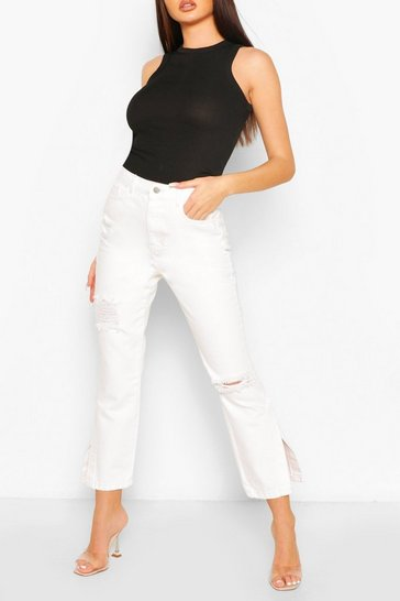 Ecru white High Rise Distressed Split Hem Jean