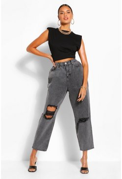 High Rise Acid Wash Distressed Mom Jeans , Washed black