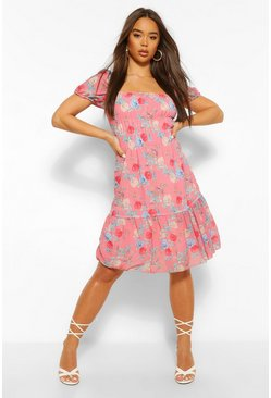 Pink Floral Puff Sleeve Elasticated Mini Dress