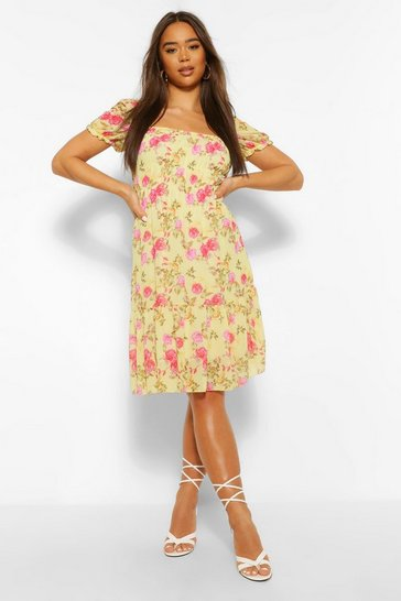 Yellow Floral Puff Sleeve Elasticated Mini Dress