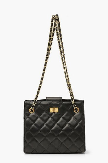 Black Quilted Twist Lock Small Tote Bag