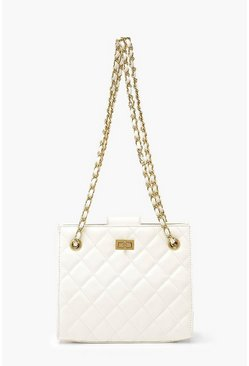 Ivory Quilted Twist Lock Small Tote Bag