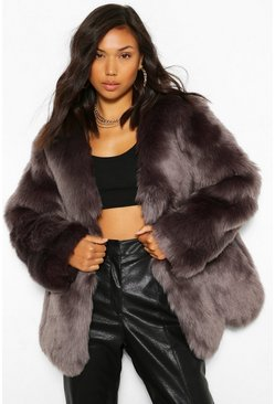 Charcoal grey Luxe Panelled Faux Fur Coat