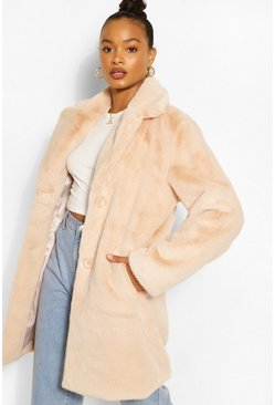 Sand beige Plush Faux Fur Coat