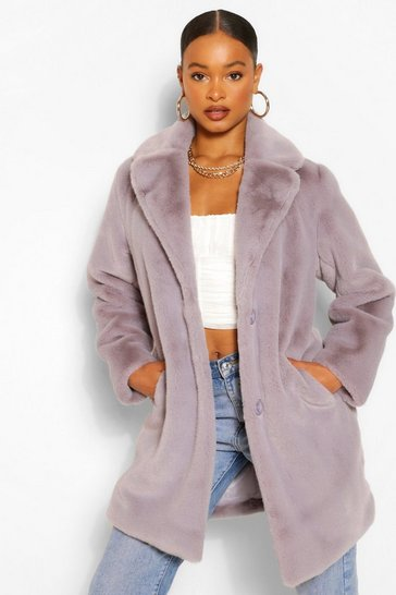 Grey Plush Faux Fur Coat