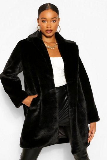 Black Plush Faux Fur Coat