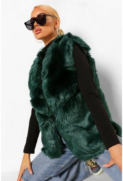 Emerald Panelled Faux Fur Gilet