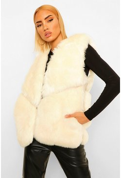 Cream Panelled Faux Fur Gilet