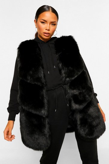 Black Panelled Faux Fur Gilet