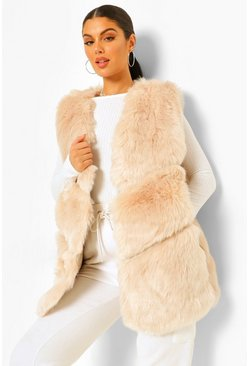 Sand beige Luxe Faux Fur Panelled Gilet