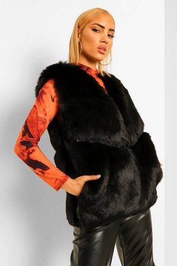 Black Luxe Faux Fur Panelled Gilet