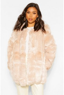Sand Oversized Luxe Panelled Faux Fur Coat
