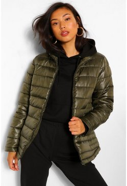 Khaki Funnel Neck Fitted Puffer Jacket