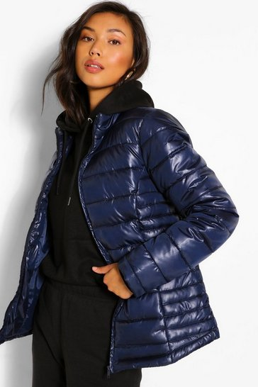 Navy Funnel Neck Fitted Puffer Jacket